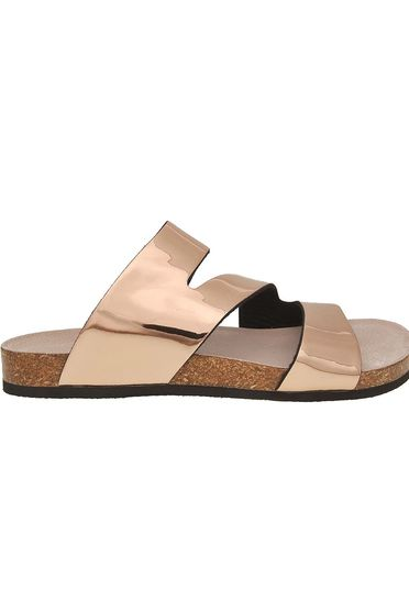 Gold slippers casual metallic color