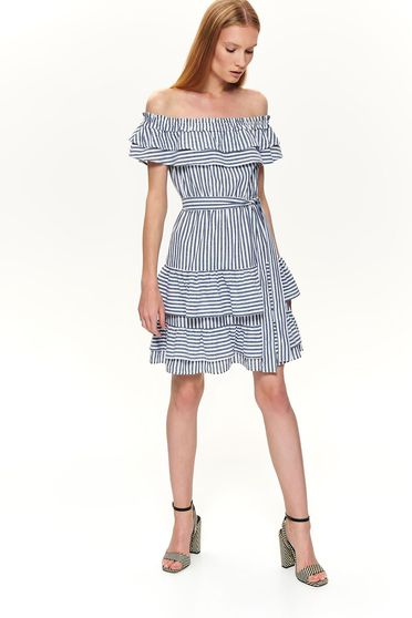 White dress casual short cut cloche with stripes accessorized with tied waistband on the shoulders