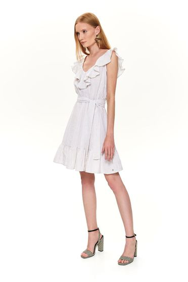 Cream dress casual cloche short cut frilly trim around cleavage line sleeveless