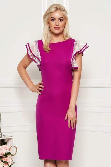 Fuchsia dress elegant slightly elastic fabric midi pencil with veil sleeves