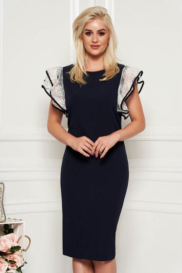 Darkblue dress elegant slightly elastic fabric midi pencil with veil sleeves