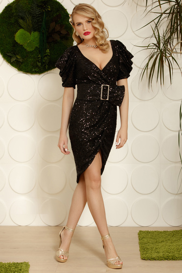 Black dress elegant with sequins detachable cord pencil asymmetrical