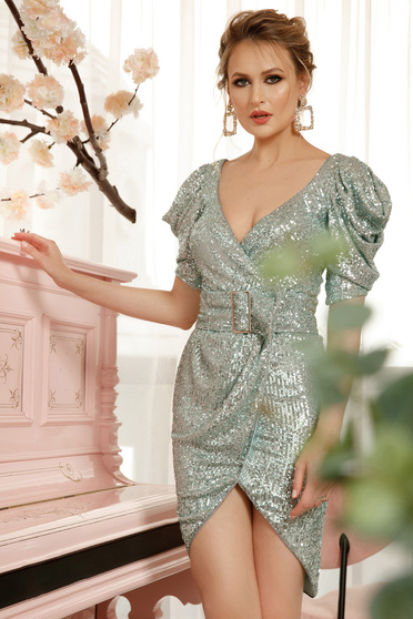 Lightgreen dress elegant with sequins detachable cord pencil asymmetrical