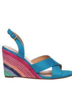 Turquoise sandals casual braided platform details