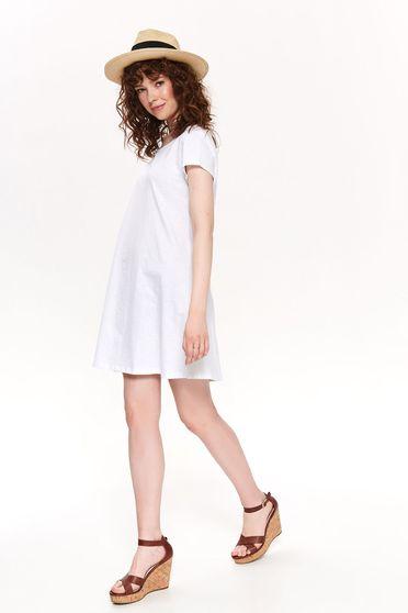 White dress casual short cut cotton bare back cloche