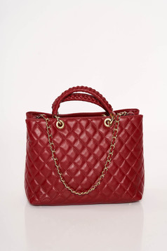 Burgundy bag office natural leather long chain handle