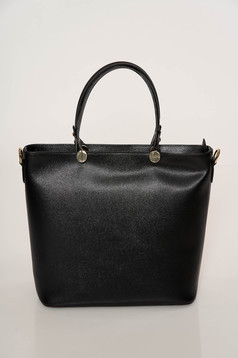 Black bag elegant medium grab handles natural leather