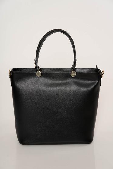 Black bag elegant medium grab handles natural leather