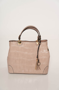 Lightpink bag elegant short handles dettachable shoulder strap snake print natural leather