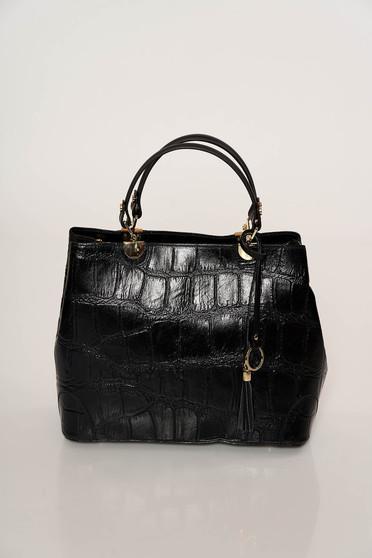 Black bag elegant short handles dettachable shoulder strap snake print natural leather