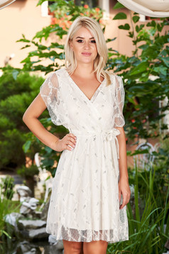 White dress daily cloche laced wrap over front with elastic waist short sleeves