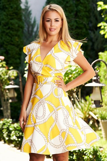 Yellow dress daily short cut cloche with graphic details frilly straps with v-neckline