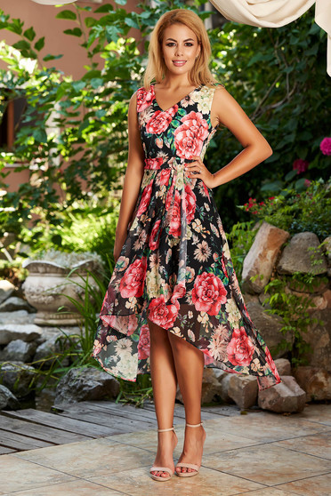 Black dress daily midi cloche from veil fabric with v-neckline with floral print with inside lining