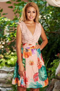 Lightpink dress daily sleeveless short cut cloche with inside lining with floral print
