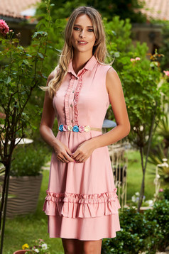 Lightpink dress casual short cut cloche with an accessory with ruffles on the chest sleeveless