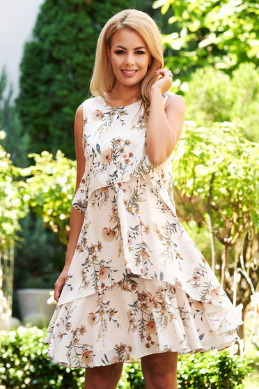 Cream dress daily short cut a-line from veil fabric sleeveless with inside lining with floral print