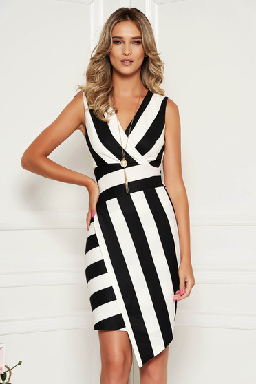 Black dress daily with stripes pencil wrap over front sleeveless with an accessory