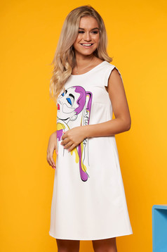 StarShinerS white dress daily short cut cloth sleeveless with graphic details