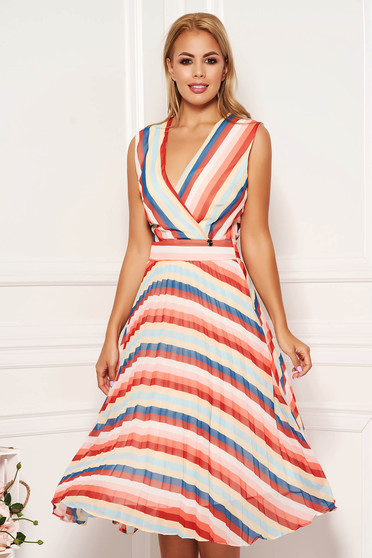 Blue dress daily midi cloche from veil fabric with stripes wrap over front sleeveless