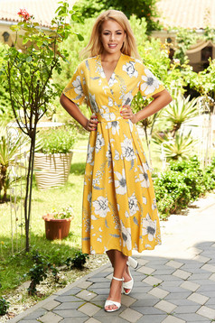 Yellow dress daily midi cloche with floral print detachable cord with v-neckline without clothing