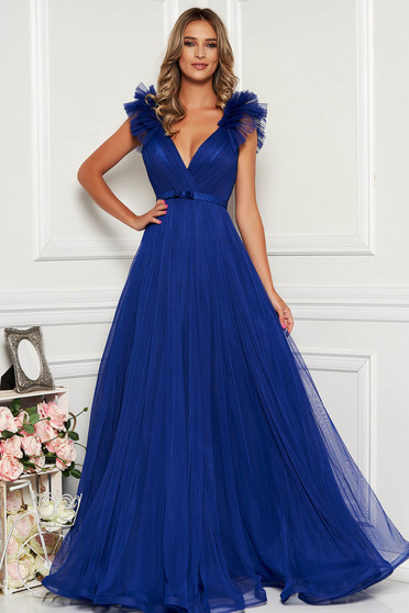 Ana Radu blue luxurious dress from tulle with inside lining with deep cleavage with push-up cups