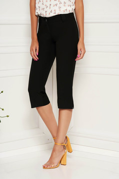 StarShinerS black trousers casual cotton medium waist conical 3/4