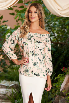 StarShinerS lightpink women`s blouse casual long sleeve with floral print naked shoulders flared