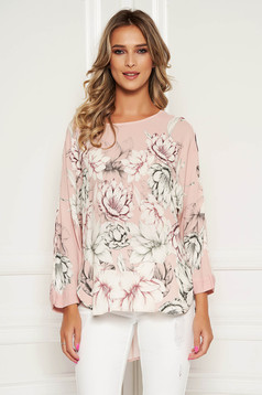StarShinerS lightpink women`s blouse elegant flared with floral print with rounded cleavage with 3/4 sleeves