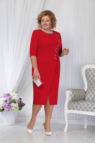 Red dress occasional elegant straight midi with padded shoulders cut material