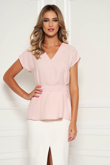StarShinerS lightpink women`s blouse elegant flared detachable cord with v-neckline