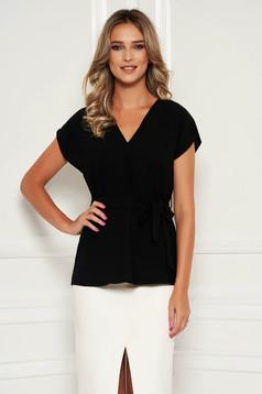 StarShinerS black women`s blouse elegant flared detachable cord with v-neckline