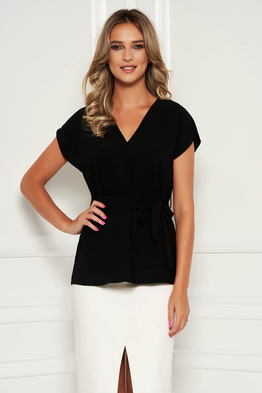 StarShinerS black women`s blouse elegant flared detachable cord with v-neckline