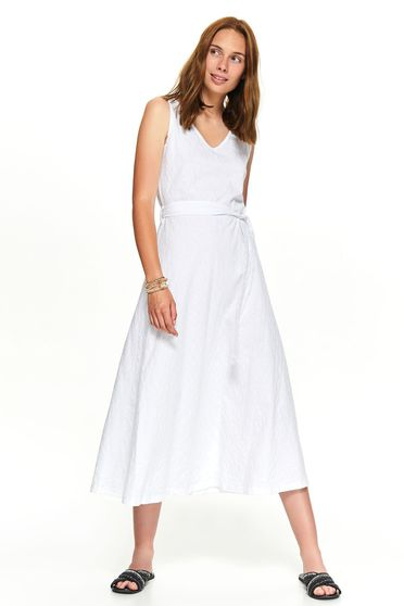 White daily casual midi cloche dress accessorized with tied waistband with v-neckline