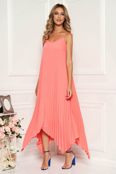 Coral dress daily asymmetrical midi folded up flared from veil fabric