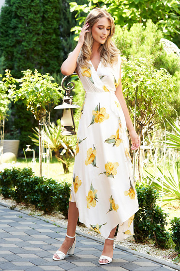 White dress daily asymmetrical midi with floral print wrap around with buttons