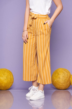 Mustard trousers straight elastic waist