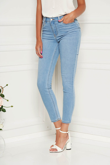 Blue jeans casual skinny jeans denim high waisted slightly elastic fabric