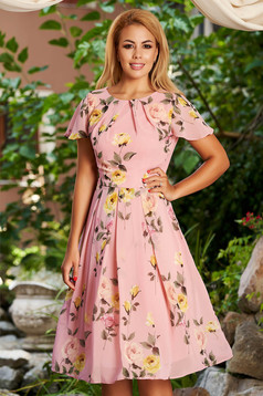 Lightpink dress daily midi cloche from veil fabric with floral print short sleeves with butterfly sleeves