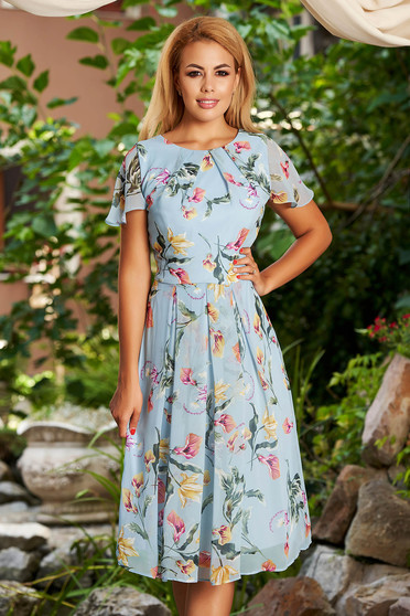 Lightblue dress daily midi cloche from veil fabric with floral print short sleeves with butterfly sleeves