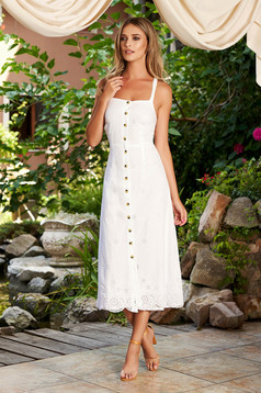 White dress daily cotton midi with straps with buttons a-line