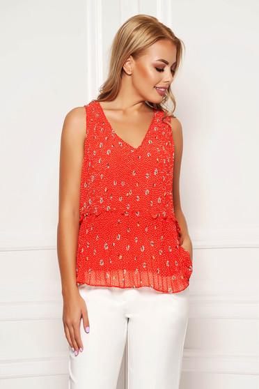 Red top shirt casual short cut flared dots print sleeveless