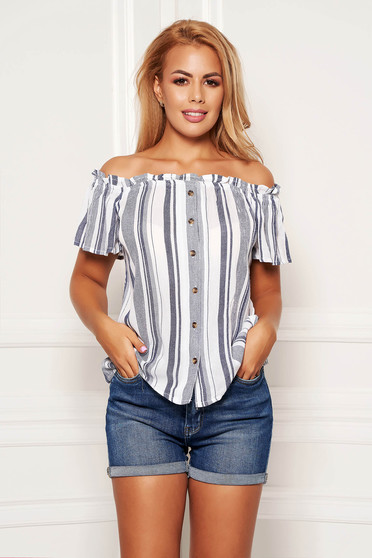 Blue women`s blouse casual short cut flared on the shoulders slightly transparent fabric with stripes