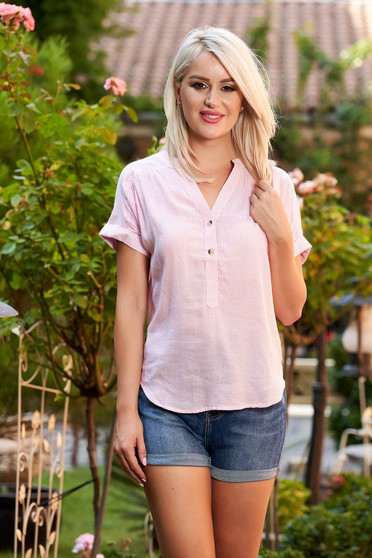 Pink women`s shirt casual short cut flared with stripes with v-neckline