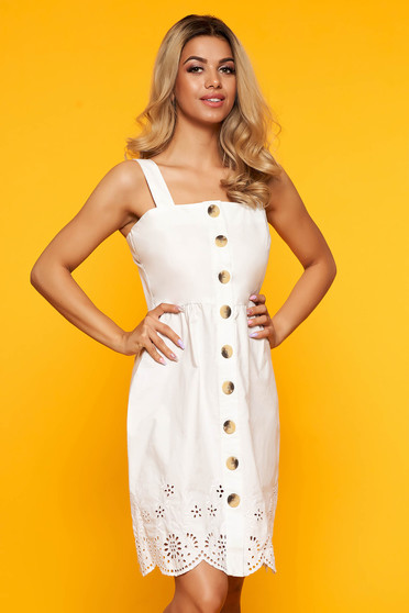 White casual short cut a-line dress with straps