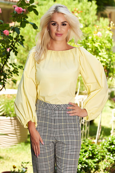 Yellow women`s blouse casual flared short cut cotton with puffed sleeves bare back