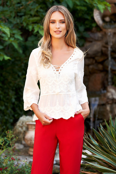 bc1174197d3966 White women`s blouse casual flared cotton with deep cleavage large sleeves  with laced details