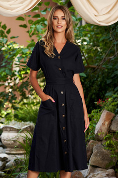 Darkblue dress casual midi cloche short sleeves detachable cord