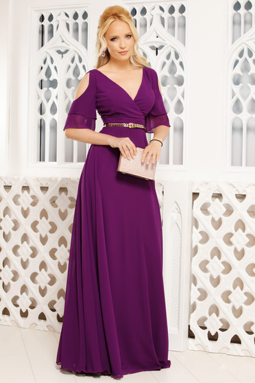 Purple dress occasional long cloche with v-neckline both shoulders cut out from veil fabric