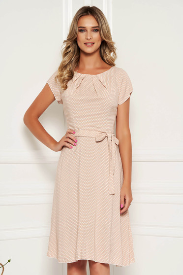 Cream dress daily dots print with rounded cleavage cloche midi
