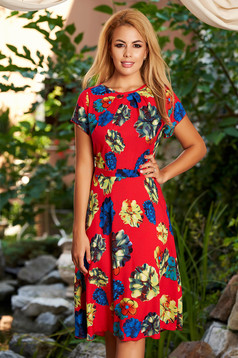 Red daily midi cloche dress nonelastic fabric with floral print accessorized with tied waistband